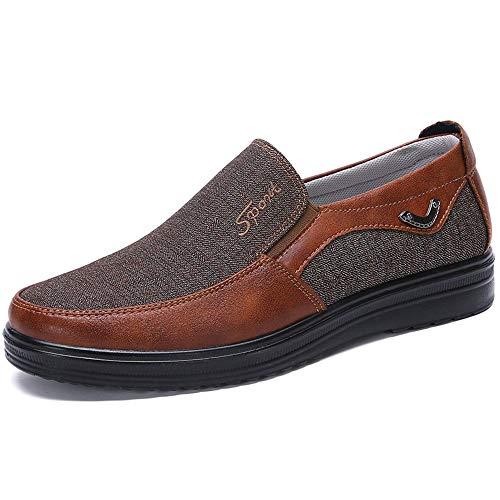 Las Grande Zapatos 40 cómodas Qiusa Tela Pekín de Suela tamaño Viejos de Suave Antideslizantes resbalón Marrón tamaño de en Hombre la Alpargatas EU del del Color RwvdwCqp