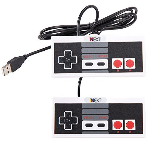 iNNEXT® Classic USB NES Controller , USB Famicom Controller Joypad Gamepad for Windows PC/MAC (Grey/Black) (Pack of 2) - Tactile Labeling