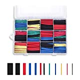 CHAMVIS 560 pcs Heat Shrink Tubing 2:1 Wire Sleeve Electrical Wire Cable Wrap Assorted Electric Insulation Sleeve Cable Wire Wrap Kit for DIY 5 Colors 12 Sizes in a Plastic Box