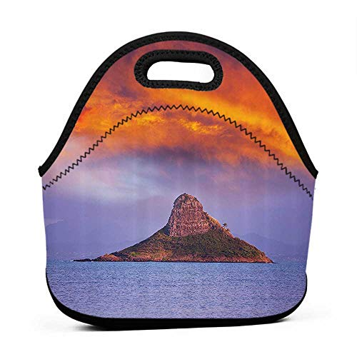 (Rugged Lunchbox Hawaiian Decorations Collection,Hawaii Deserted Island in Ocean with Mountain Trees Cloudy Photography Print,Orange Purple,lunch box bag for women)