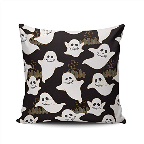 SALLEING Custom Fashion Home Decor Pillowcase Halloween Ghost Square Throw Pillow Cover Cushion Case 22x22 Inches Double Sided Print -