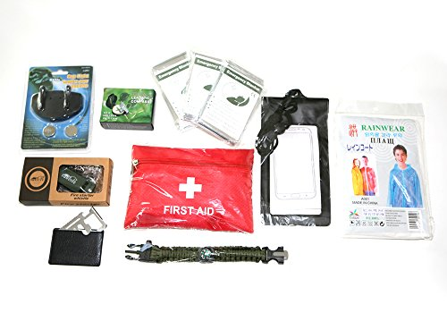 Price comparison product image NeoSports Survival gear kit with compass fire starter emergency blanket multi function tool rain coat water proof cell pack first AID kit paracord bracelet cap light 9in1