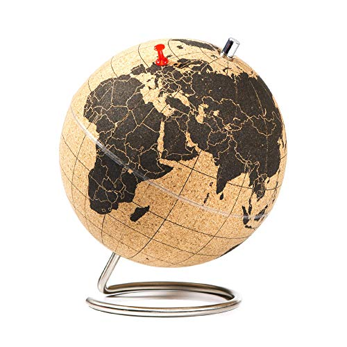 SUCK UK - MINI DESKTOP CORK GLOBE | PUSH PINS INCLUDED | EDUCATIONAL WORLD MAP | TRAVEL ACCESSORIES | ADVENTURE & MEMORIES DISPLAY |