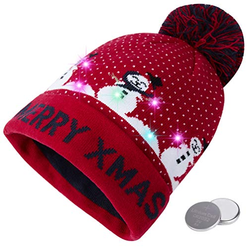 (RAISEVERN Unisex Ugly LED Christmas Beanie Hat Novelty Colorful Light-up Joyful Snowman Stylish Knitted Sweater Hats for Family Party)