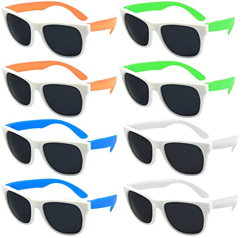 Edge I-Wear Neon Party Sunglasses with CPSIA certified-Lead(Pb) Content Free and UV 400 Lens 5402RAWHT-SET-8(Made in - Color The Run Sunglasses