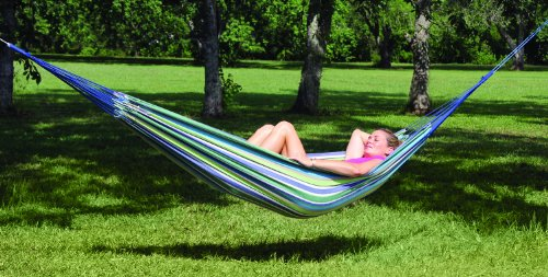 """Texsport La Paz Fabric Single Hammock - Overall Size: 123"""" x 40"""", Bed Size: 77"""" x 40"""", Weight Limit: 300 Lbs Cool, comfortable cotton bed with braided cotton ropes and 2 pcs. Of rope for easy hanging Blue Rainbow Striped Fabric - patio-furniture, patio, hammocks - 51Kw6ty2dDL -"""