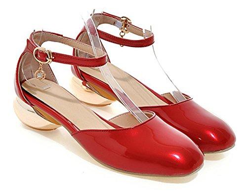 Aisun Donna Moda Tacchi Bassi Fibbia Abito Dorsay Sandali Punta Chiusa Con Cinturini Alla Caviglia Rosso