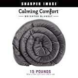 Calming Comfort Weighted Blanket by Sharper Image- A Heavy Blanket| 15 lb. 50' x 75', Grey