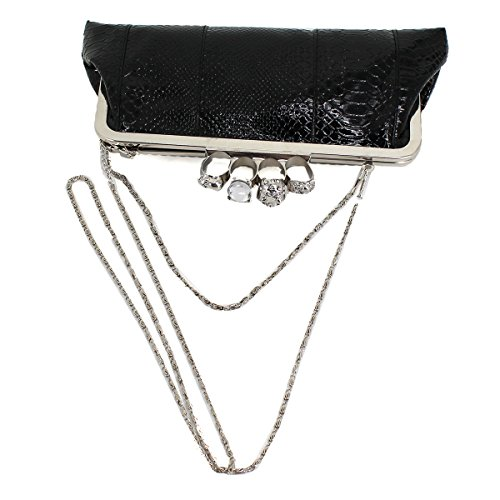 Bag Shoulder Handbag Evening Women Black with Punk Skull Ring Bag Style PU Millya Party Chain Leather Clutch Knuckle wq66Y1