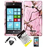 4 items Combo: ITUFFY LCD Screen Protector Film + Mini Stylus Pen + Case Opener + Silver Pink Pine Tree Leaves Camouflage Outdoor Wildlife Design Rubberized Snap on Hard Shell Cover Faceplate Skin Phone Case for ( Straight Talk , Net10 ) Huawei W1 H883G