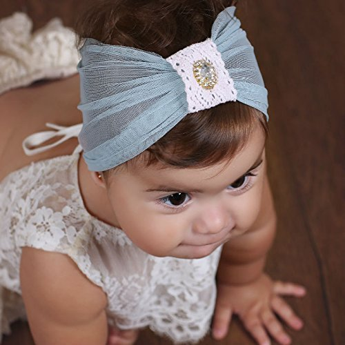 Handmade Light Blue Baby Headband, 0-6 month old, with Crochet and Rhinestone