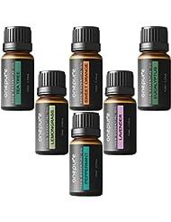 Onepure Aromatherapy Essential Oils Gift Set, 6 Bottles/10ml each, 100% Pure (Lavender, Tea Tree, Eucalyptus, Lemongrass, Sweet Orange, Peppermint)