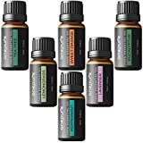 Onepure Aromatherapy Essential Oils Gift Set, 6 Bottles/ 10ml each, 100% Pure ( Lavender, Tea Tree, Eucalyptus, Lemongrass, Sweet Orange, Peppermint)
