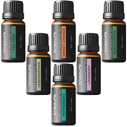 Onepure Aromatherapy Essential Oils Gift Set, 6 Bottles/10ml each, 100% Pure (Lavender, Tea Tree, Eucalyptus, Lemongrass, Sweet Orange, (Spa Bottles Set)