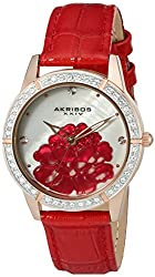 Akribos XXIV Women's AK805RD Quartz Movement Watch with White Mother of Pearl Dial and Red Strap