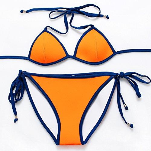 YONGYI Europa y el elegante y bikini de neopreno reversible tanto la Sra. pedazo split bañador bañador de buceo Naranja