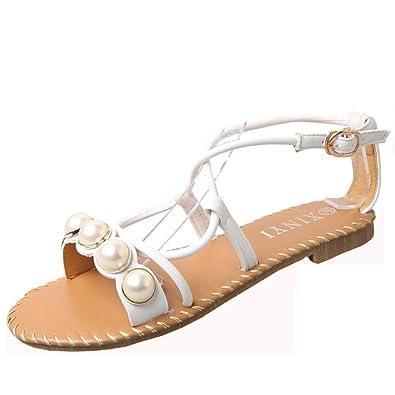 Sandalen Damen Flach FNKDOR Bequeme Mode Sandalette Sommerschuhe