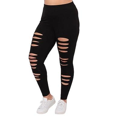 SOMESUN Damen Leggings mit Rissen Yoga Leggings Frauen Zerrissen Ripped Hose  Skinny Sport-Leggings Jogginghose 447b10b7e2