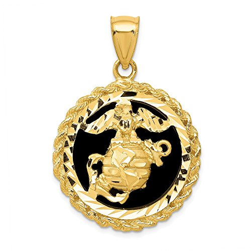 14k Yellow Gold Black Onyx Marine Pendant Charm Necklace Career Professional Military Man Fine Jewelry Gift For Dad Mens For Him