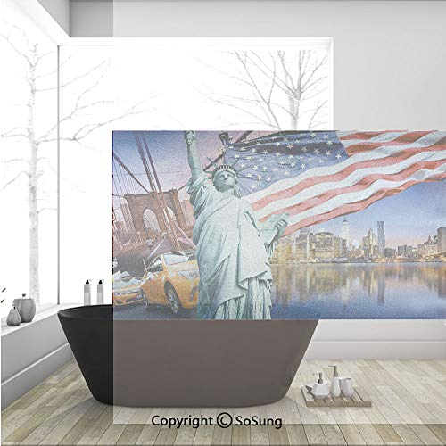 3D Decorative Privacy Window Films,USA Touristic Concept Collection Statue of Liberty NYC Cityscape Flag Cars Decorative,No-Glue Self Static Cling Glass film for Home Bedroom Bathroom Kitchen Office 3]()