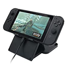 Orzly Play Stand for Nintendo Switch [With Air-Vent Access] BLACK Foldable Multi Angle Stand, Raised for Charging Port Access (while playing in Tablet Stand Mode)