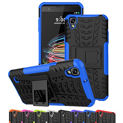 LG Tribute HD Case, LG X Style Case, LG Volt 3 Case, Ueokeird Hybrid Dual Layer Armor Protective Phone Case Cover with kickstand for LG X Style / Volt 3 / Tribute HD (blue)