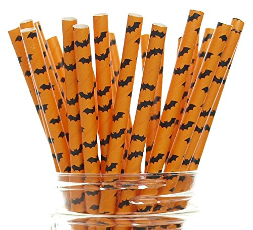 Vampire Bat Halloween Party Straws (25 Pack) - Orange & Black Bat Pattern Paper Straws, Halloween Party Supplies, Bat Superhero Birthday Party Drinking (Black Orchid Martini)