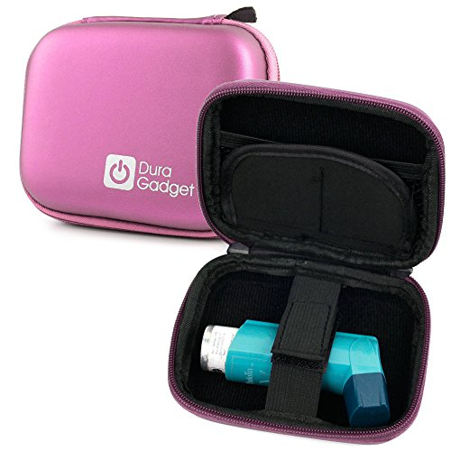 DURAGADGET Sturdy Hardwearing Pink Twin Zip Hard Carry/Storage Case with Belt Clip for Blue Inhalers Relievers for Asthma