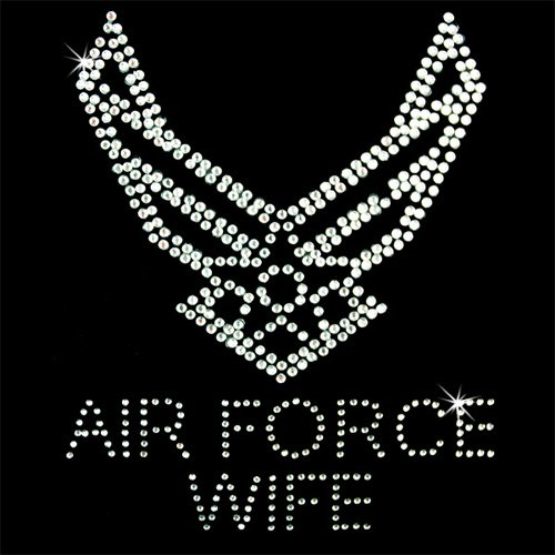 (Iron on Hot Fix Rhinestone Motif Design Air Force Wife)