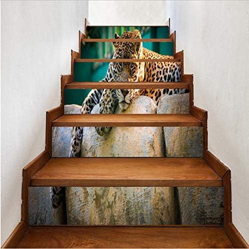 Escalera decorativa Animal Leopard 18 * 100 CM 6 Unids Diy Cascada Etiqueta de La Pared
