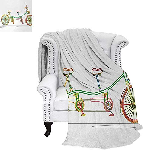 Weave Pattern Blanket Colorful Tandem Bicycle Design on White Background Pattern Clipart Style Print Custom Design Cozy Flannel Blanket 90
