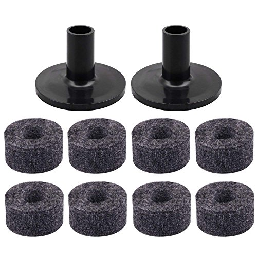 SODIAL 8PCS Cymbal Stand 25mm Felt Washer + 2PCS Cymbal Sleeves Replacement for Shelf Drum Kit