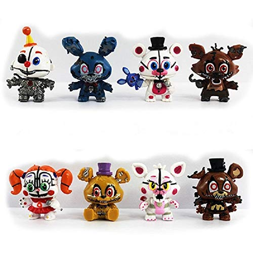 PAPCOOL Set 8 FNAF Action Figures 2 inch Hot Toys Foxy Bonnie Freddy Bear Mini Small Cute PVC Figure Sister Location Toy Christmas Halloween Collectable Gift Gifts Collectible Collectibles for - Bear Figure Pvc