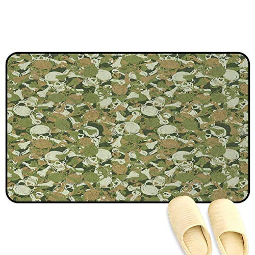 Camo Bath Mat Non Slip Sketchy Skulls and Crossbones Warning Sign Spooky Scary Horror Tile Light Brown Green Light Green Hard Floor Protection W47 x L59 INCH (Bichon Welcome Sign Frise)
