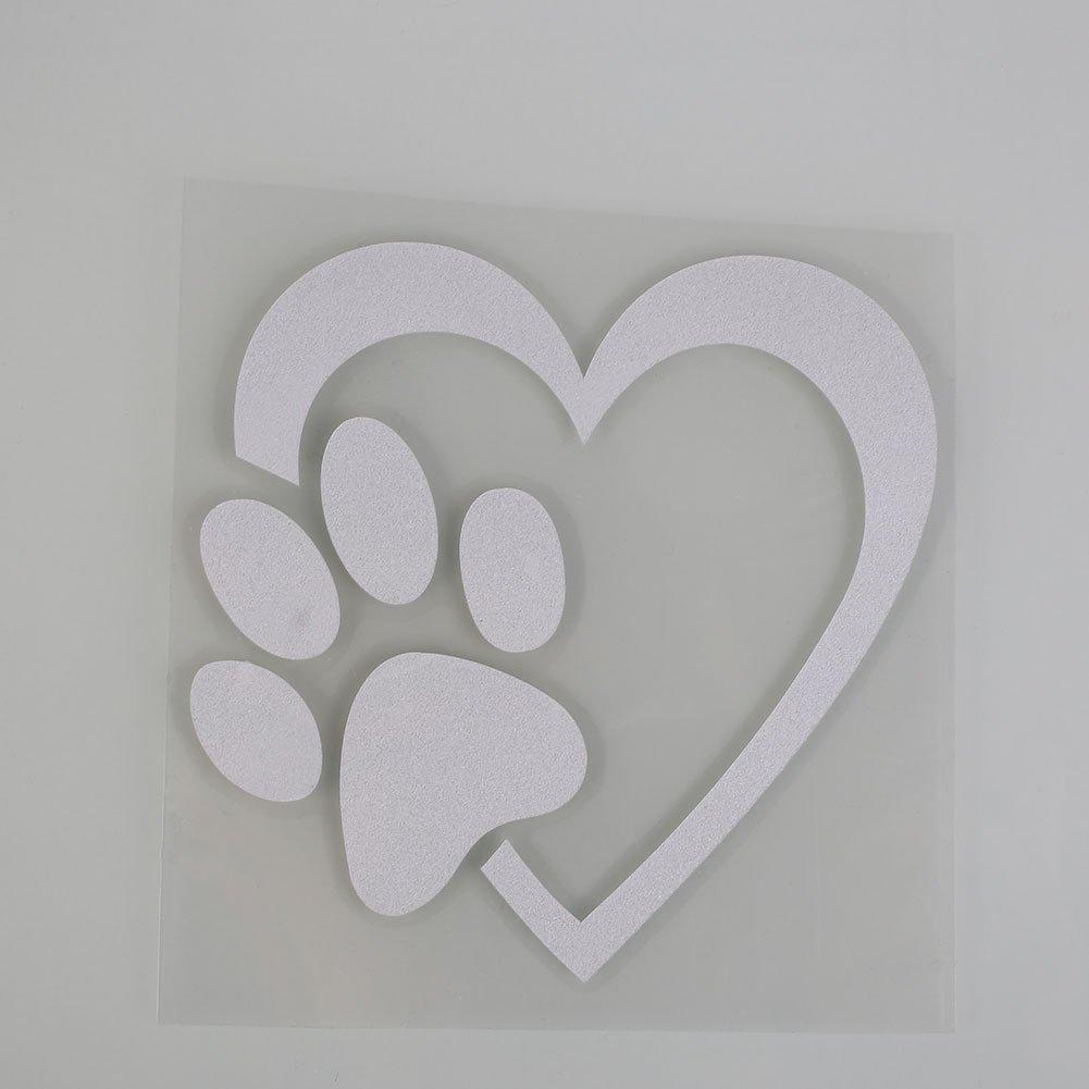 Sedeta® Schwarz Auto Aufkleber und Abziehbilder 1 Stück reflektierende lustige Liebe Haustier Hund Katze Tier Paw Print