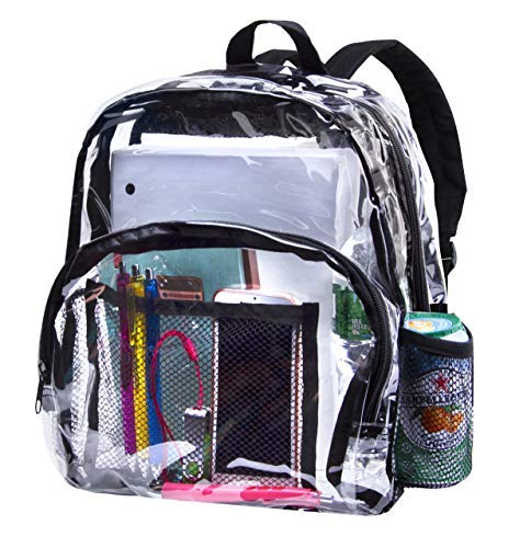 cc3f74218be2 Heavy Duty Clear Backpacks for School Bookbag Stadium Approved Transparent  Bag