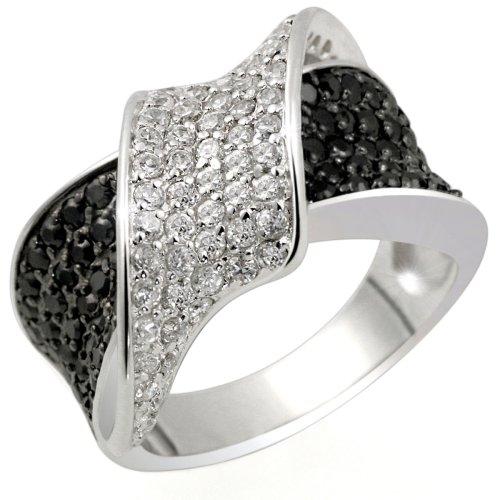 Goldmaid - Pa R3831S60 - Black & White - Bague Femme - Argent 925/1000 8.7 gr - Oxyde de zirconium - 60 blancs et 76 noirs - T 60