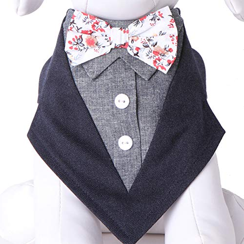Tail Trends Crockett Floral Bow Tie Formal Dog Tuxedo ()