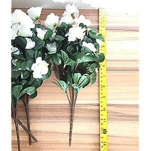 Lopkey Outdoor Indoor Silk Flower Artificial Red Azalea Bush 4pcs 3