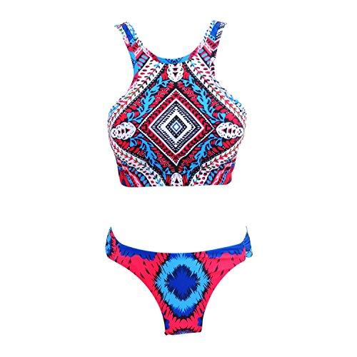 Zodaca [Medium] Sexy Tribe Women Tankini 2 Pieces Ethnic Print High Neck Halter Bikini Swimsuit
