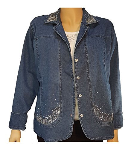 Blue Denim Bling Jacket with Rhinestone Buttons (XL, Denim Blue) Button Denim Jacket