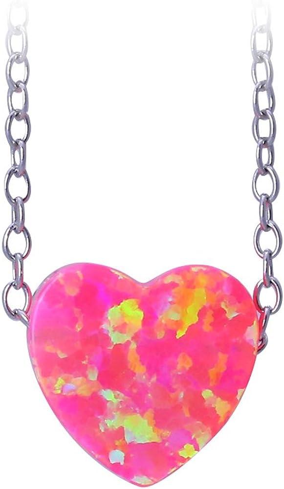 925plata de ley Collar colgante en forma de corazón rosa Fire Opal para las mujeres ops742