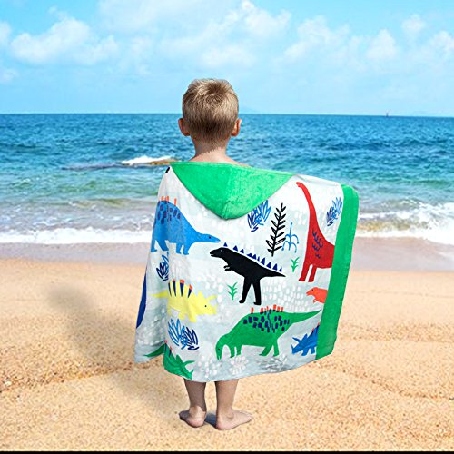 LALIFIT 100% Cotton Kids Hooded Poncho Swim Beach Bath Pool Towel for Girls/Boys(Dinosaur) by LALIFIT (Image #2)