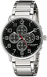 Akribos XXIV Men's AK810SSB Chronograph Quartz Movement Watch with Black Dial and Stainless Steel Bracelet