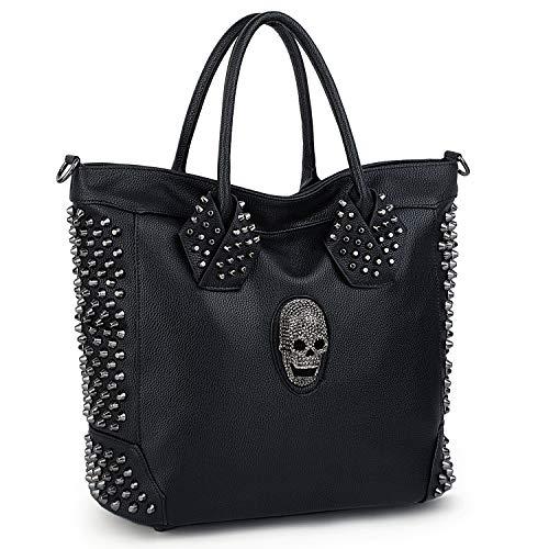 (UTO Women Skull Tote Bag Rivet Studded Handbag PU Leather Purse Shopper Shoulder Bags)
