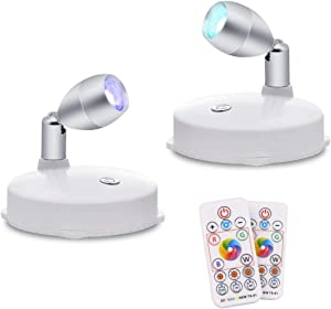 RGB Wireless LED Spotlight, Battery Operated Accent Lights, Indoor Mini Puck Light, Dimmable Uplight with Remote, 4000K Warm White, Stick on Anywhere Wall Light with Rotatable Head, Silver-2 Pack