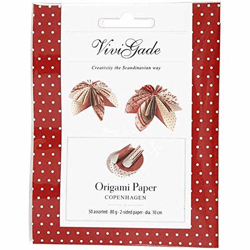 Vivi Gade Design Origamipapier D: 10 cm Sortiment 50 sort Blatt Copenhagen