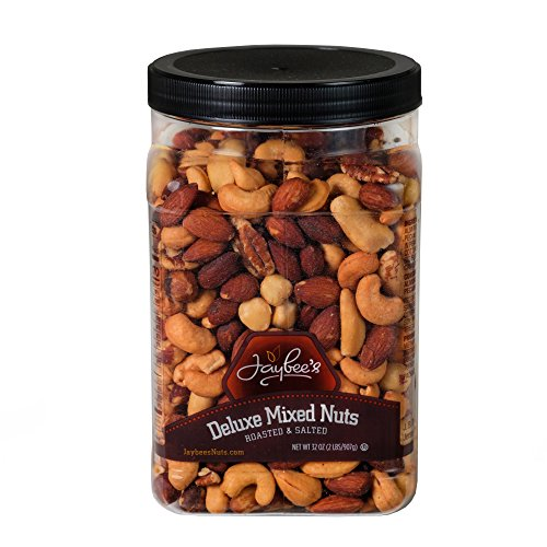 Roasted Salted Deluxe Mixed Nuts (32 oz) Great for Holiday Gift Giving or as Everyday Snack Featuring Cashews Almonds Brazil Nuts Pecans and Filberts by Jaybee's Nuts (Snacks Mixed Nuts Star)