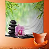 UHOO2018 Square Tapestry spa Concept Zen Basalt Black Stones and Pink Orchid Throw, Bed, Tapestry, or Yoga Blanket 39W x 39L Inch