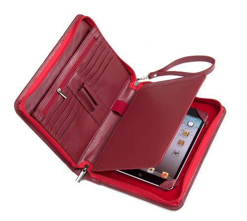 Genuine Leather Padfolio with Wrist Strap, Zipper Portfolio Organizer for iPad Mini 5 2019 and Small Notepad, Red ()